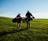 Image of Golfers Walking on Course